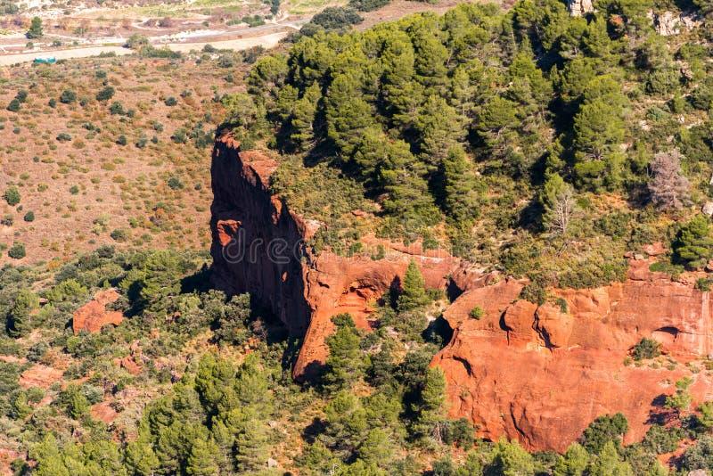 Skalisty krajobraz wokoło Siurana De Prades, Tarragona, Hiszpania Odgórny widok zdjęcie royalty free