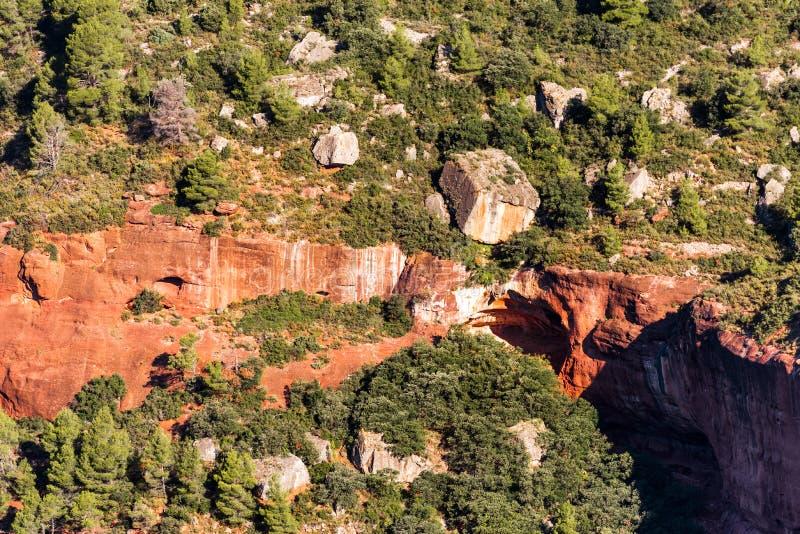 Skalisty krajobraz wokoło Siurana De Prades, Tarragona, Hiszpania Odgórny widok obrazy royalty free