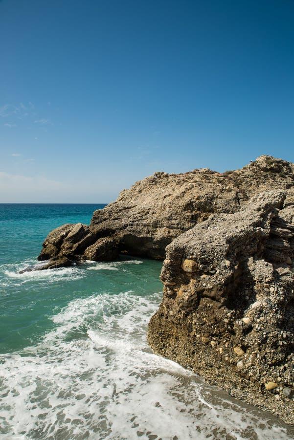 Skalisty Malaga wybrzeże zdjęcie stock