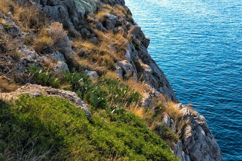 Skalisty wybrzeże i błękita gładki morze zdjęcie royalty free