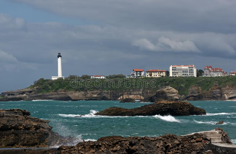 Skalisty wybrzeże Biarritz zdjęcie royalty free