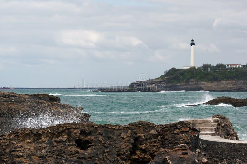 Skalisty wybrzeże Biarritz zdjęcia stock