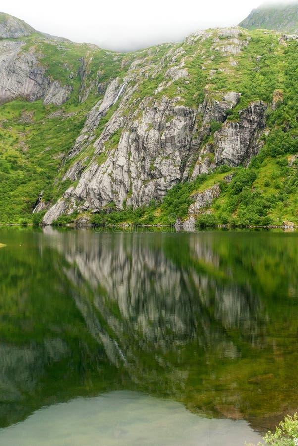 Skalisty wybrzeże w mgle na jeziornym Hamnoyvatnet, Lofoten, Norwegia zdjęcia royalty free