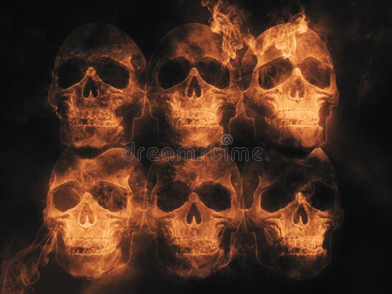 Skallar - brand och flamma vektor illustrationer