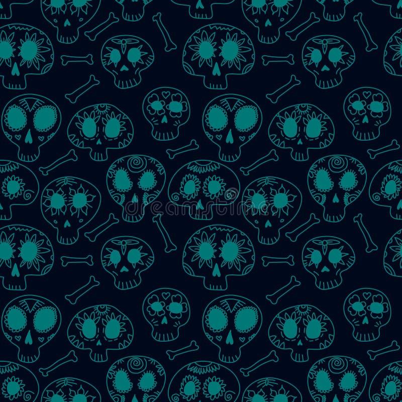 Skallar för klottercalaverasocker i blått, halloween eller diameter de muertos den sömlösa modellen, vektor royaltyfri illustrationer