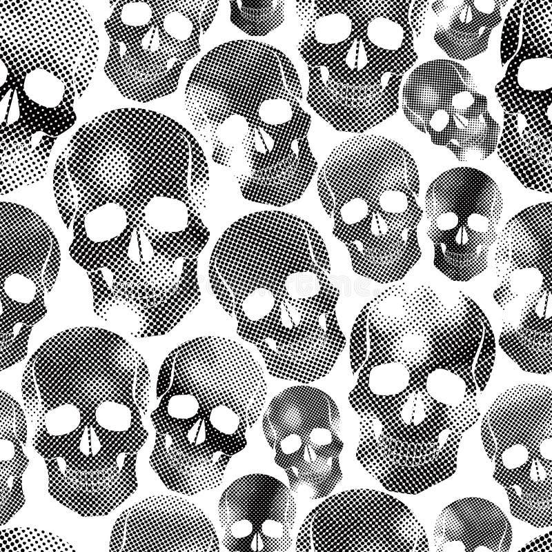 Skallar med det rastrerade trycket texturerar sömlös bakgrund, svärtar royaltyfri illustrationer
