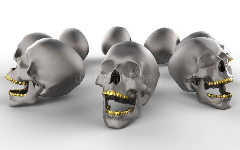 Skallar med guld- tänder royaltyfri illustrationer