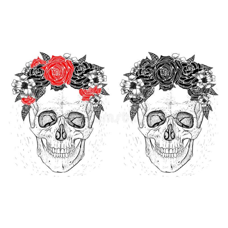 Skallar och blommor royaltyfri illustrationer