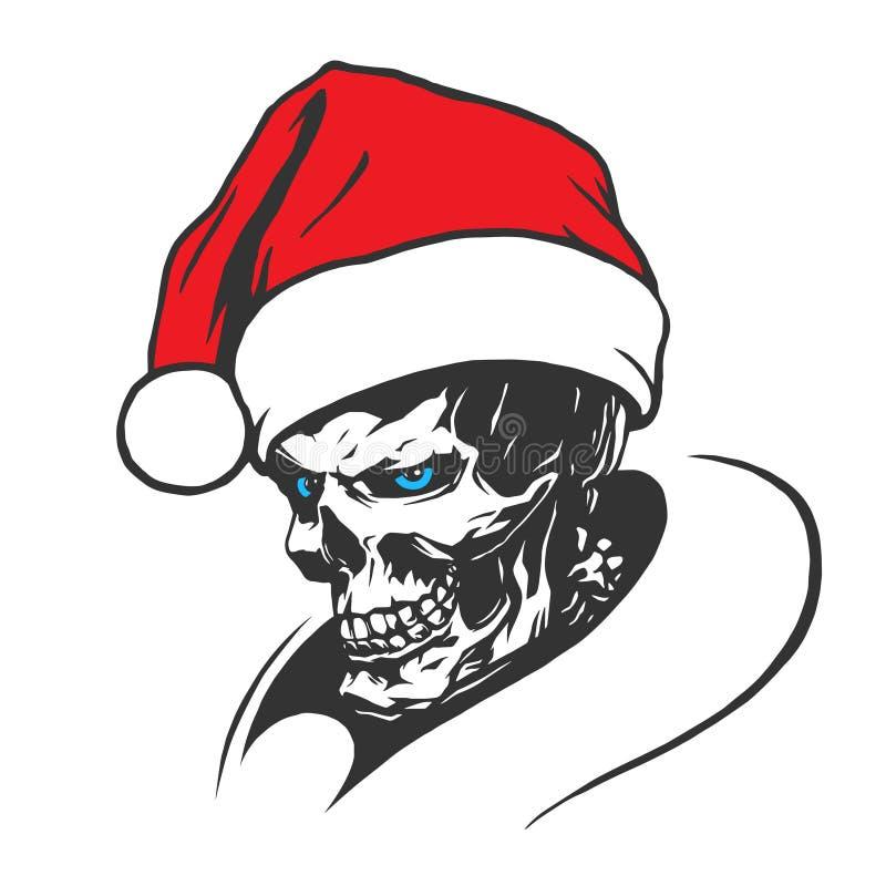 Skalle av dålig jultomten stock illustrationer