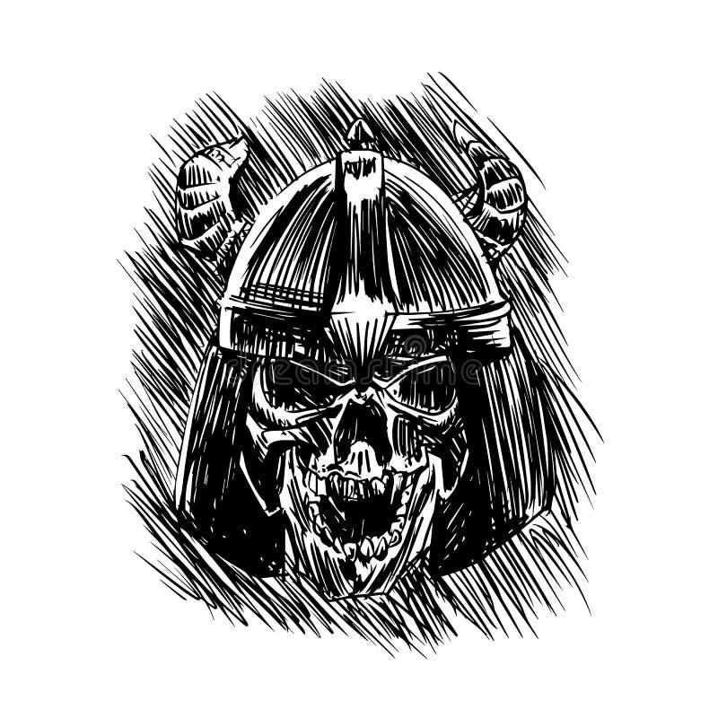 Skalle av den viking krigaren vektor illustrationer
