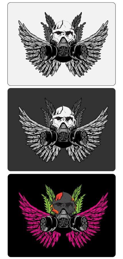 skalle för 3 designer stock illustrationer