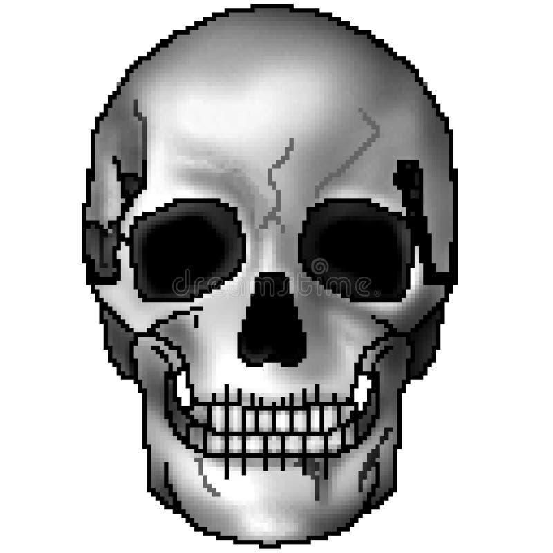 Skalle för bit för PIXEL 8 utdragen svartvit skuggad grina vektor illustrationer