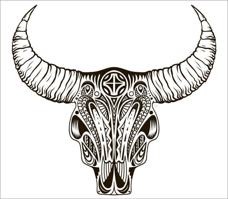 Skalle för Boho stil-, person som tillhör en etnisk minoritet-, indian- eller mexikantjur med fjädrar på horn royaltyfri illustrationer