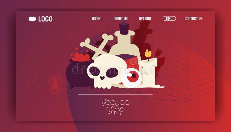 Skalle för tecknad film för voodoovektorwebbsida i läskiga halloween och vampirismteckenillustration av den spöklika onda gig stock illustrationer