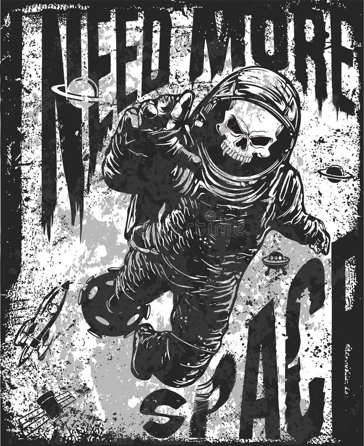 Skalle i astronautdräkt Hand tecknad vektorillustration stock illustrationer