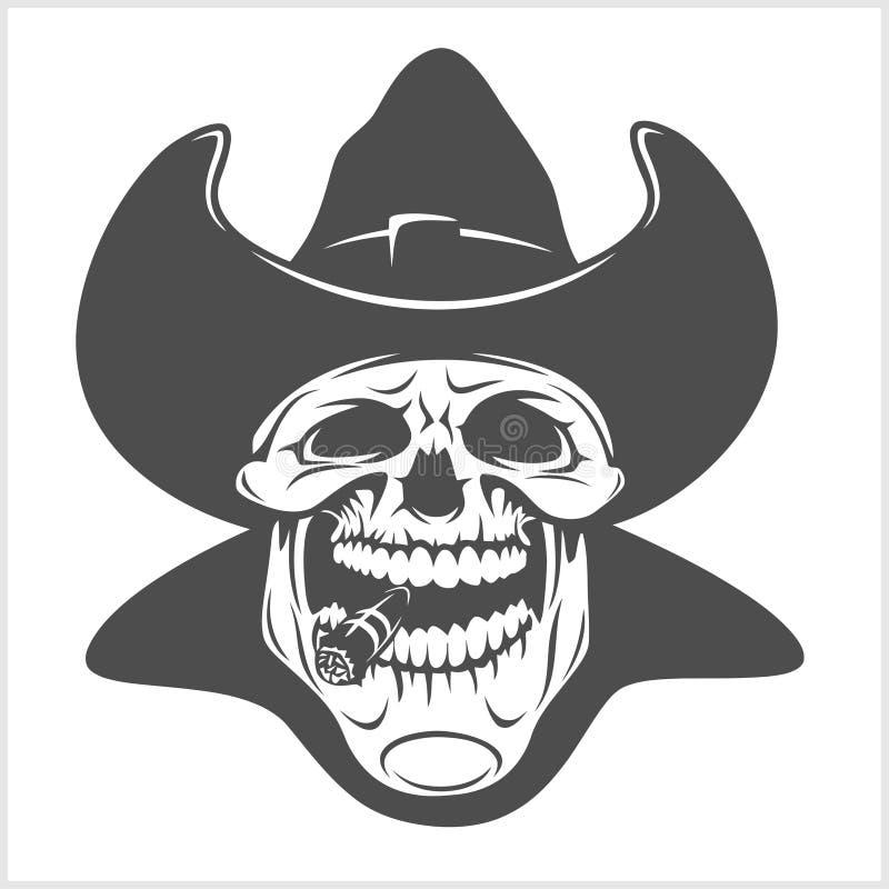 Skalle i cowboyhatten - gangster royaltyfri illustrationer