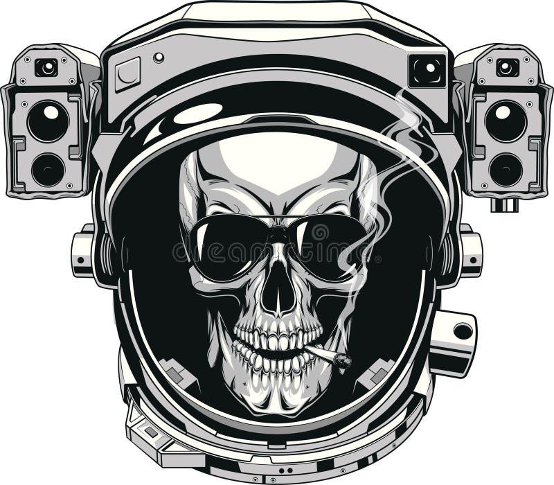 Skalle i en spacesuit stock illustrationer