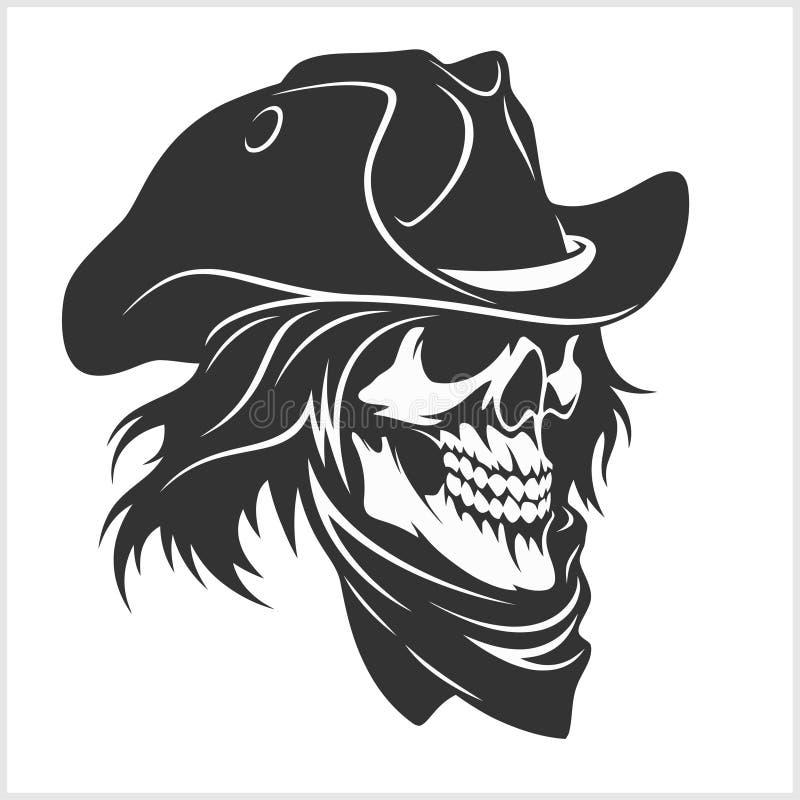 Skalle i hatten - gangster royaltyfri illustrationer
