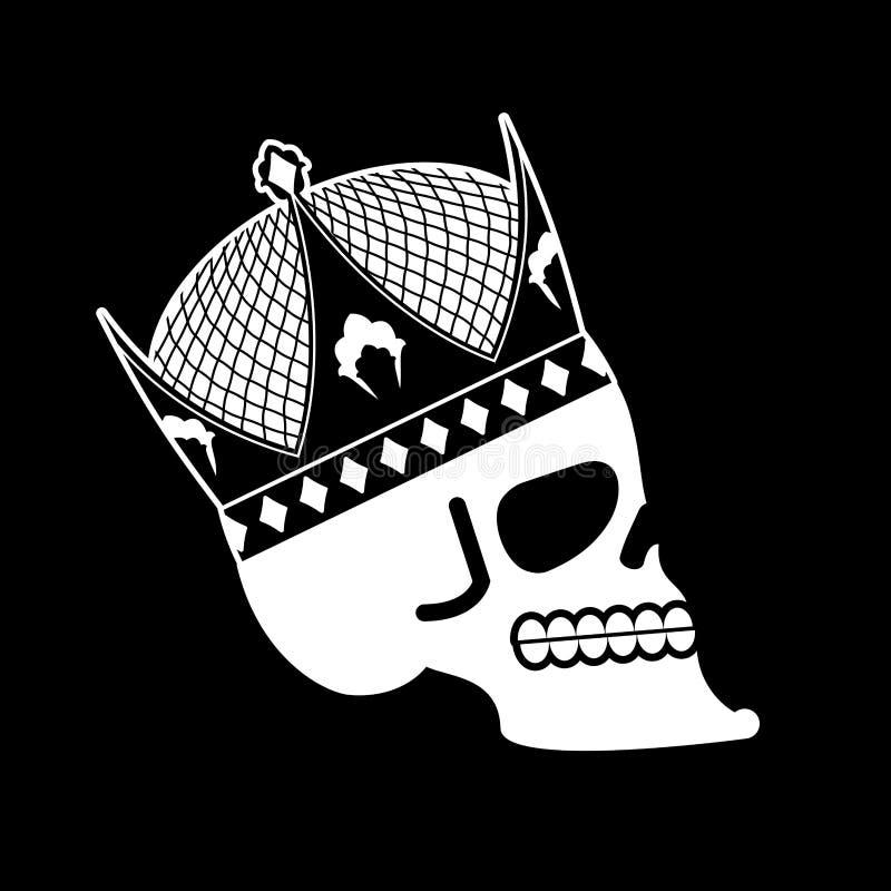 Skalle i krona huvud av skelettet av konungen Död av kejsaren stock illustrationer