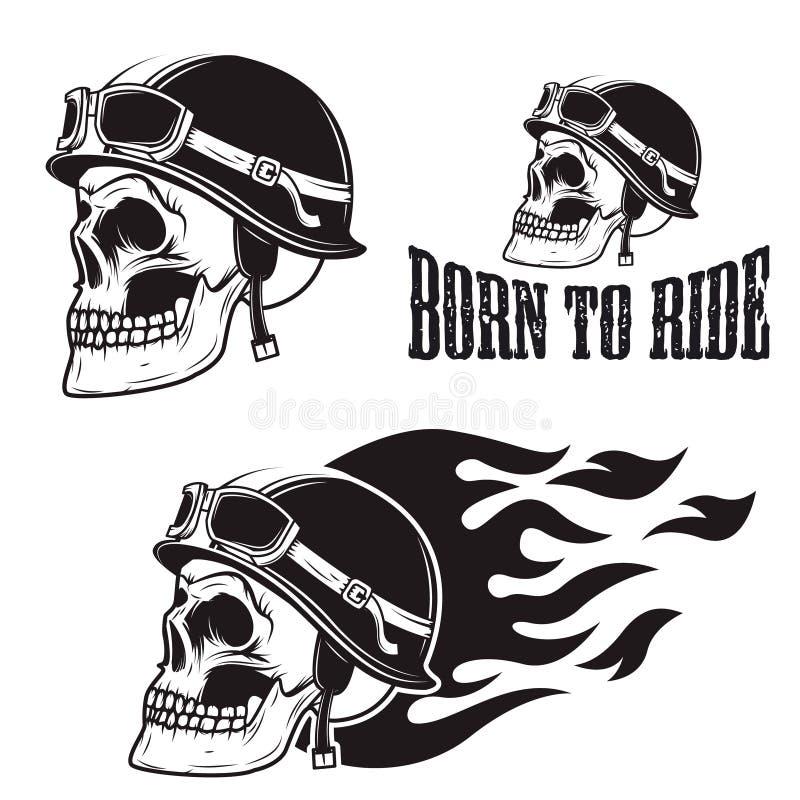 Skalle i motorcykelhjälm med brand Uthärdat för att rida royaltyfri illustrationer
