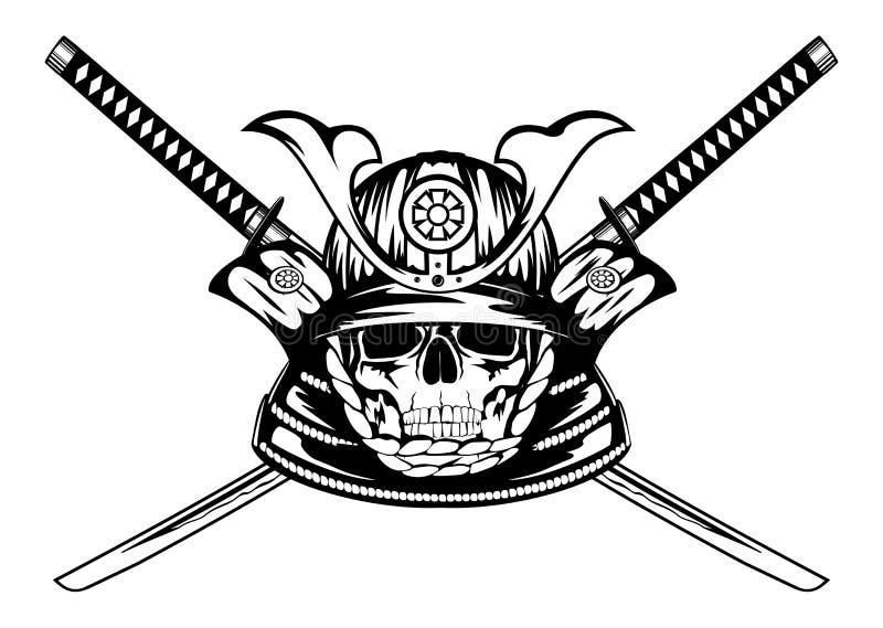 Skalle i samurajhjälm och korsade katanas vektor illustrationer