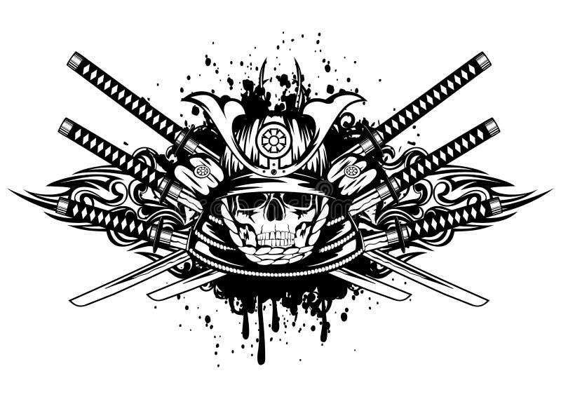 Skalle i samurajhjälm och korsade samurajsvärd stock illustrationer