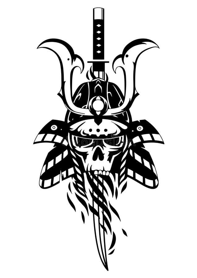 Skalle i samurajhjälmen stock illustrationer