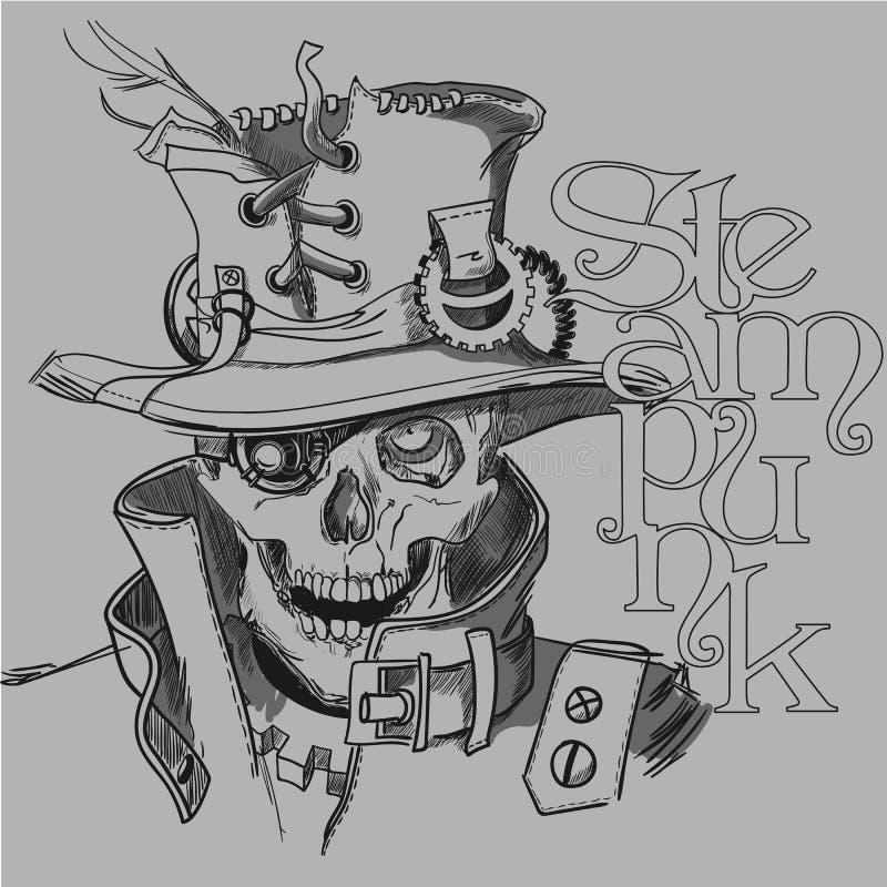 Skalle i steampunkstil vektor illustrationer