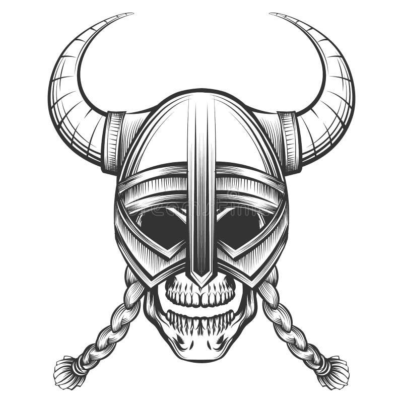 Skalle i Viking Helmet vektor illustrationer