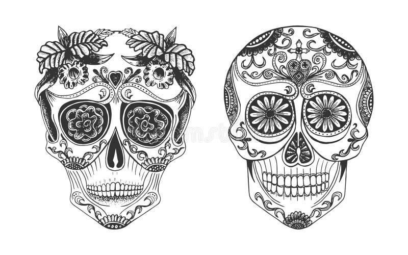 Skalle med Calavera dekorsymbol vektor illustrationer
