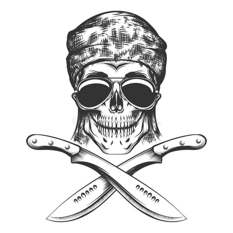 Skalle med den svartvita illustrationen för machete vektor illustrationer