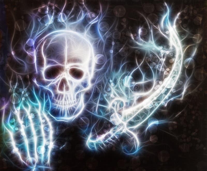 Skalle med en hand, svärdet med bokeh och fractal royaltyfri illustrationer