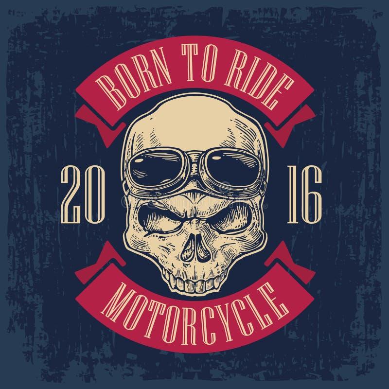 Skalle med exponeringsglas för motorcykel på pannan royaltyfri illustrationer