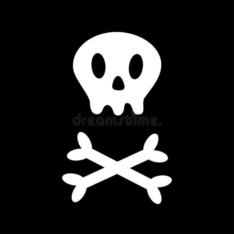 Skalle med för ben symbolen på tvären Vit korslagda benknotor Skelett- kroppsdel Lyckligt allhelgonaaftonteckensymbol Enkelt teck vektor illustrationer