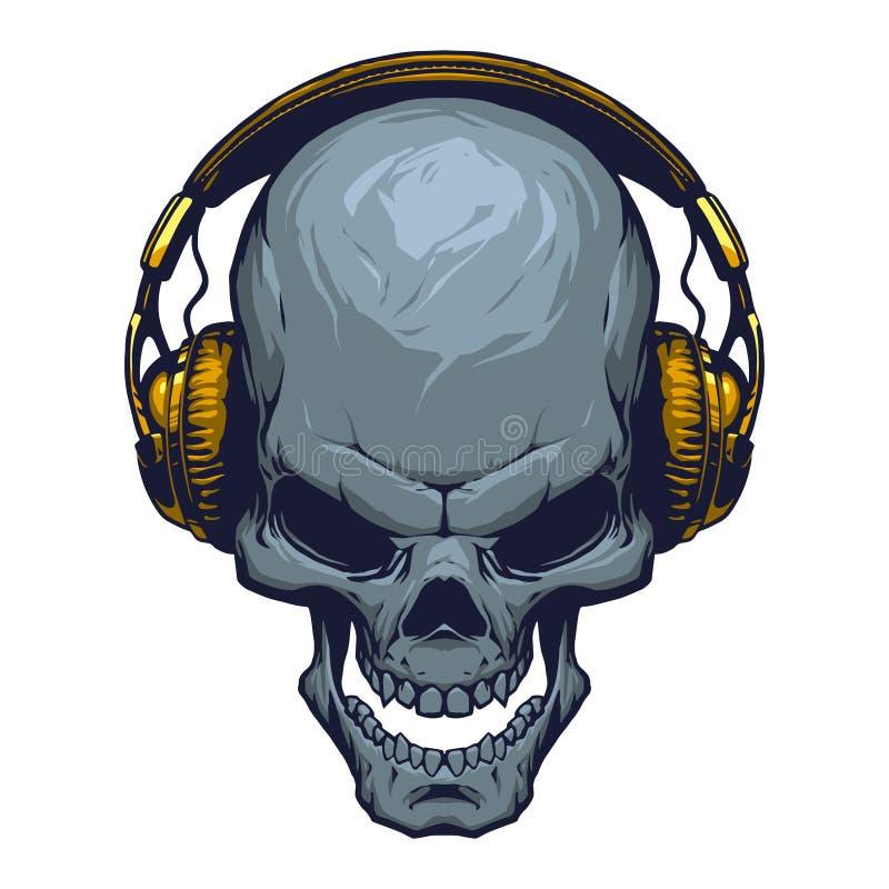 Skalle med hörlurar stock illustrationer