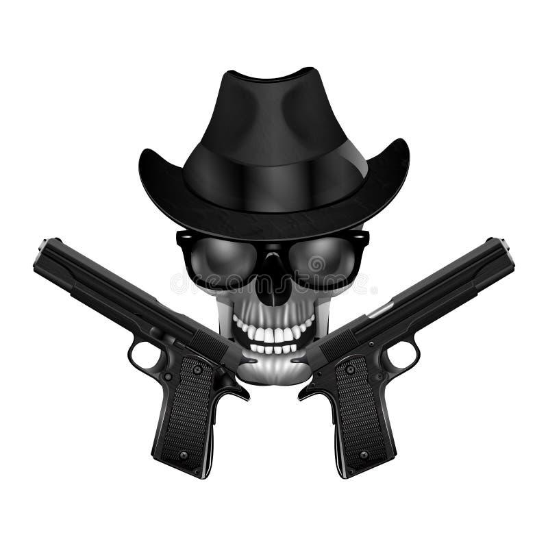 Skalle med hatten och pistoler vektor illustrationer