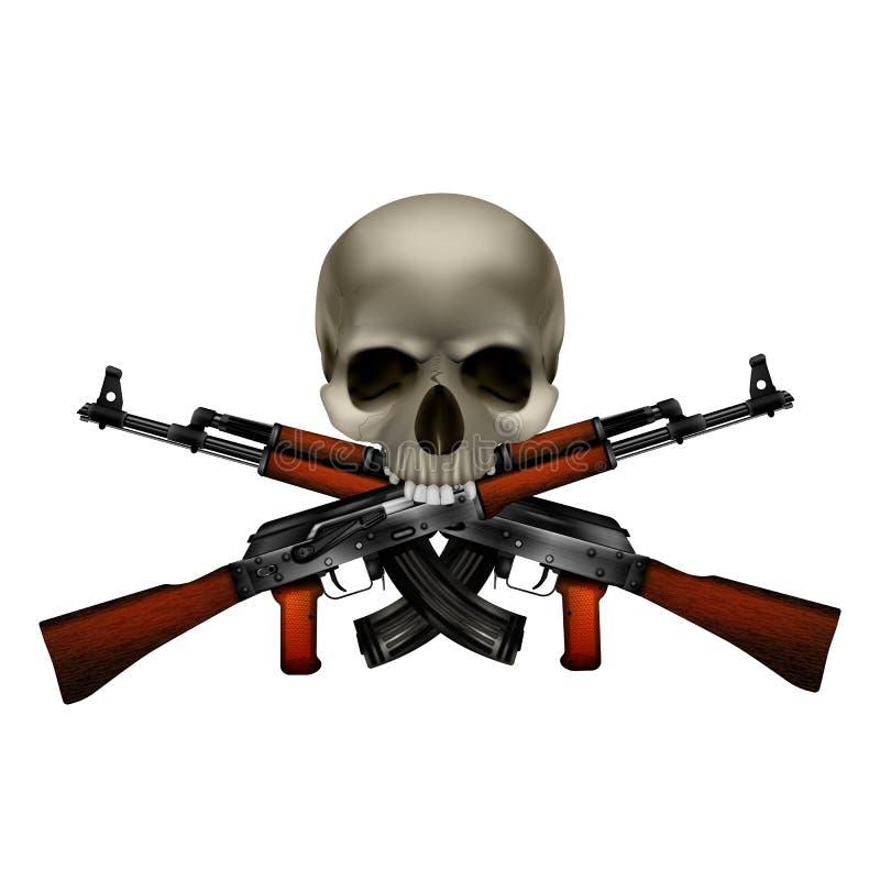 Skalle med korsade Kalashnikovmaskingevär royaltyfri illustrationer