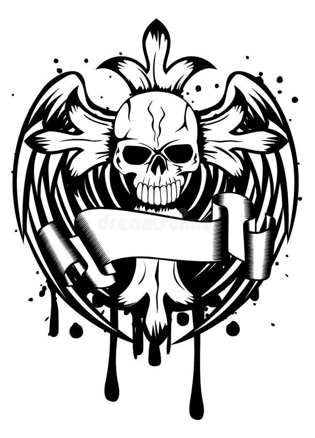 Skalle med korset och vingar vektor illustrationer