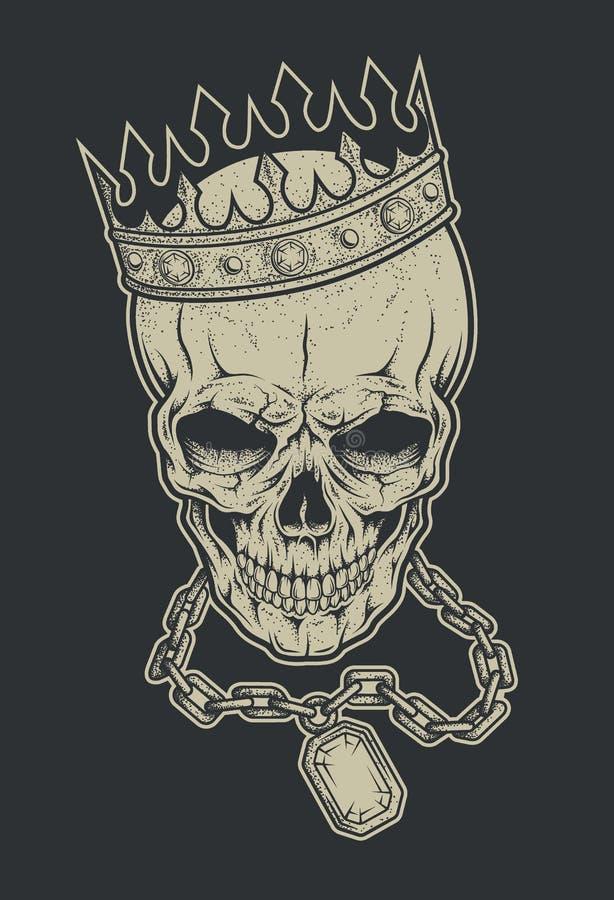 Skalle med kronan och kedjan royaltyfri illustrationer