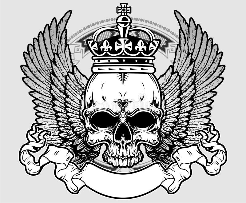 Skalle med kronan och vingar vektor illustrationer