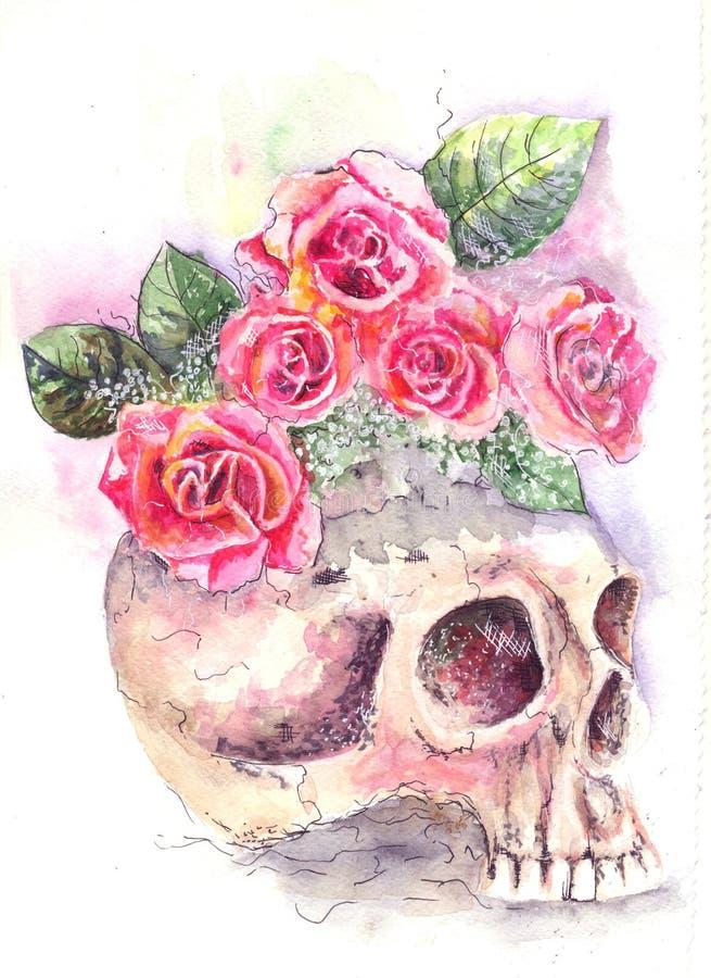 Skalle med rosor stock illustrationer