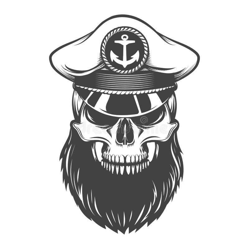 Skalle med skägget i kapten Hat vektor illustrationer