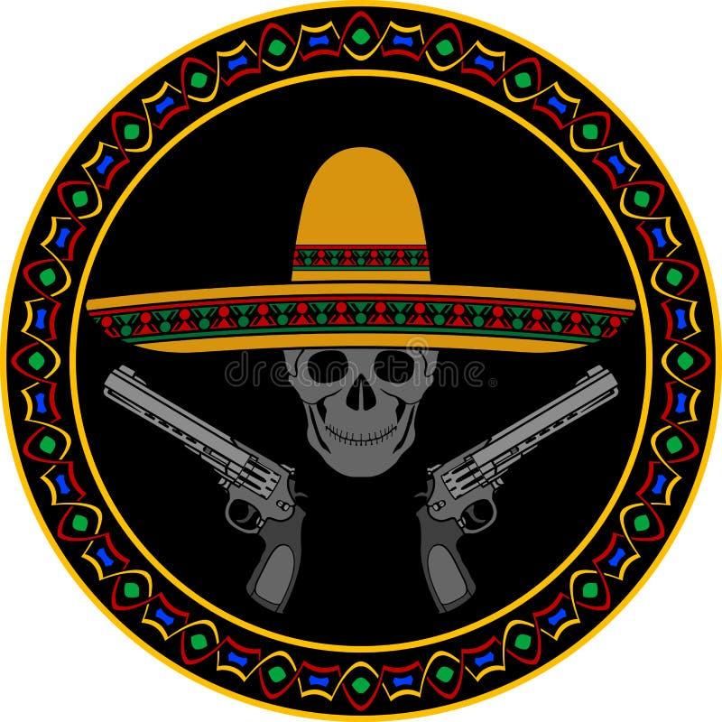 Skalle med sombreron och två pistoler royaltyfri fotografi