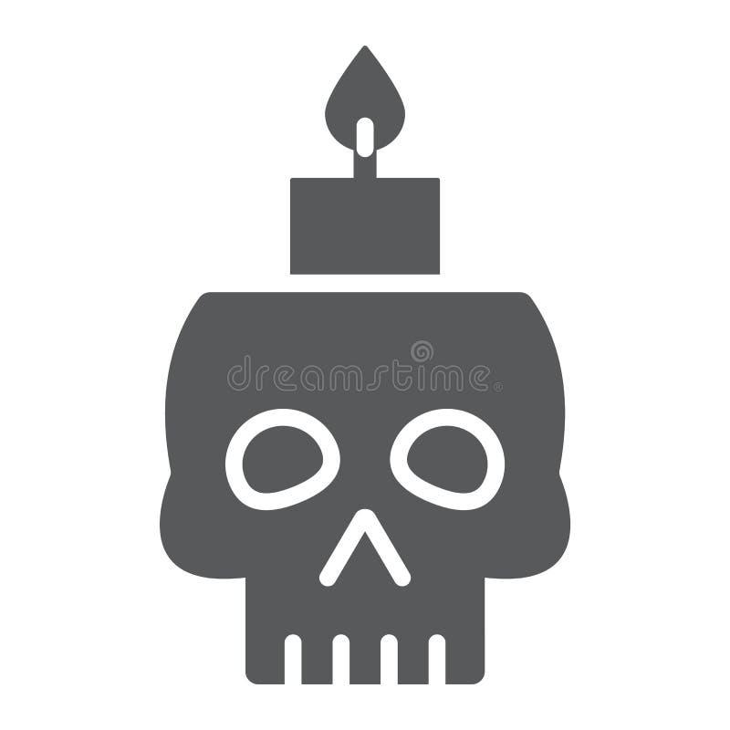 Skalle med stearinljusskårasymbolen, spöklikt och dekor, halloween stearinljustecken, vektordiagram, en fast modell på ett vitt stock illustrationer