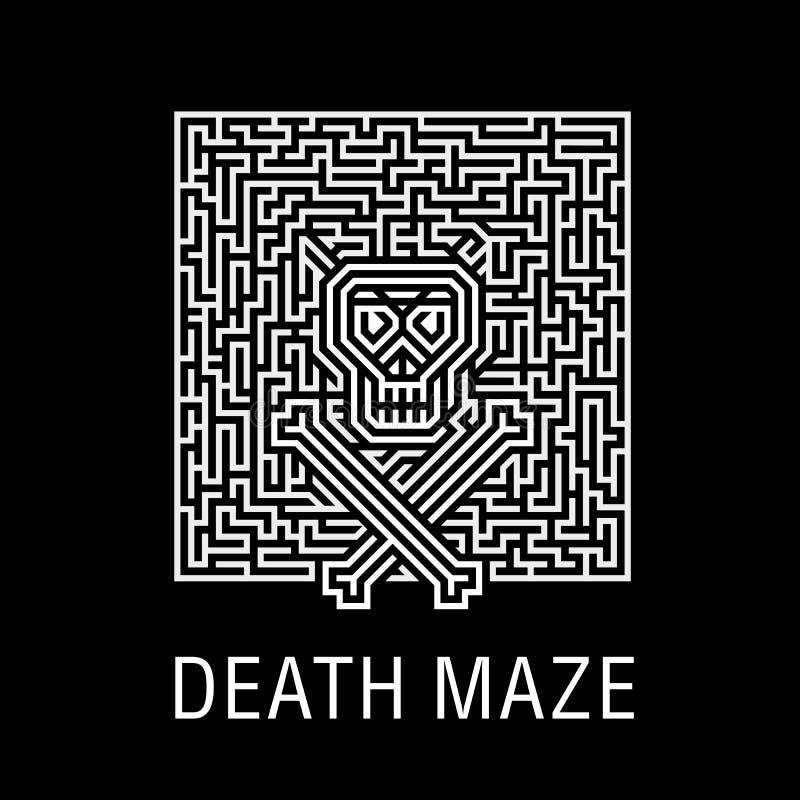 Skalle och ben i en förfärlig dödlig labyrint - idérik logo, illustration för vektorteckenbegrepp OrienteringsT-tröja, tryck, aff vektor illustrationer
