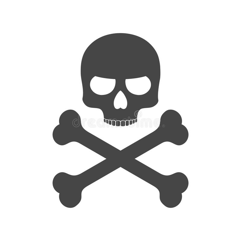 Skalle och bensymbol eller logo vektor illustrationer
