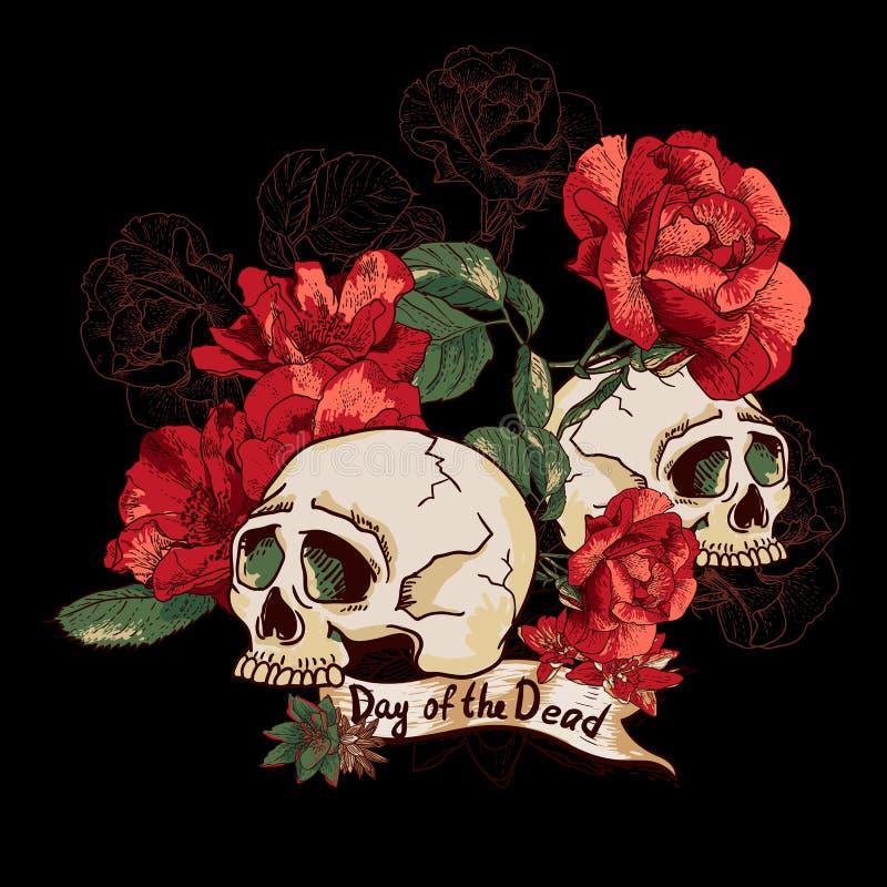 Skalle- och blommadag av dödaen stock illustrationer