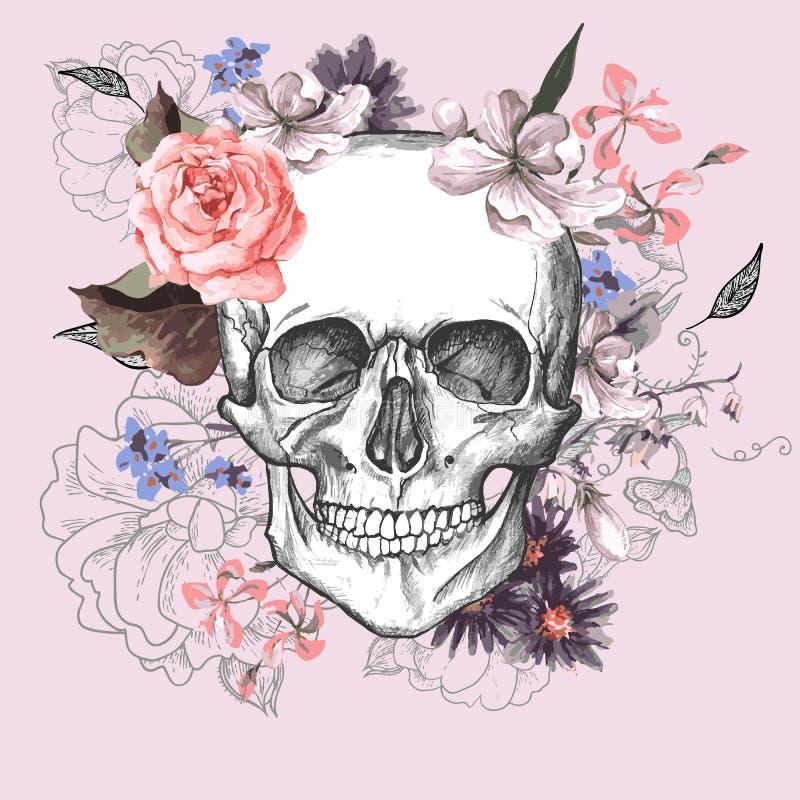 Skalle- och blommadag av dödaen royaltyfri illustrationer