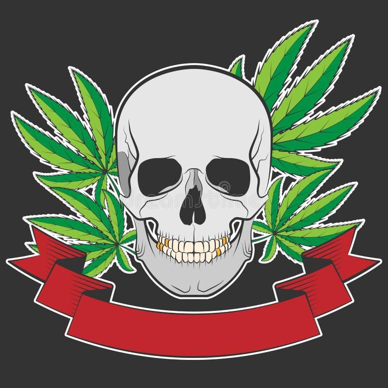 Skalle och cannabis vektor illustrationer