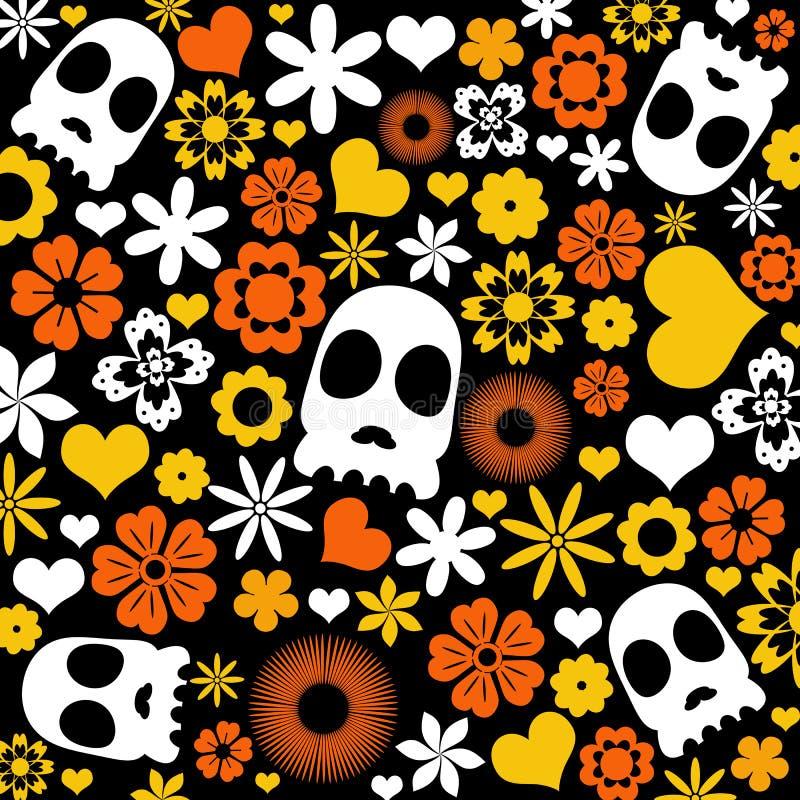 Skalle- och floramodellbakgrund stock illustrationer